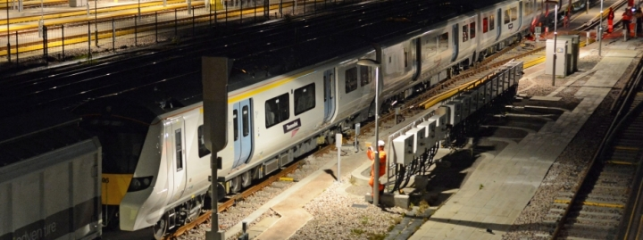 Siemens Desiro train at Three Bridges Depot