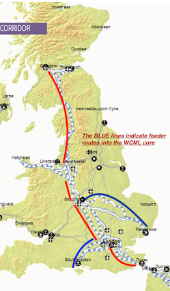 WCML TEN-T Corridor Map in UK
