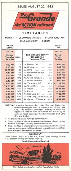 Rio Grande timetable