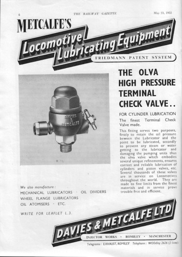 Davies & Metcalfe Advert - 1952 Rly Gazette copy