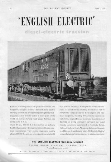English Electric 2 Advert - 1951 Rly Gazette copy