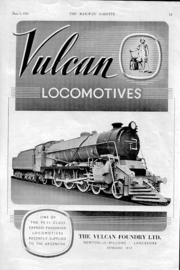 Vulcan Foundry 2 Advert - 1951 Rly Gazette copy