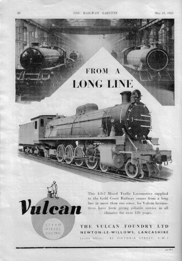 Vulcan Foundry Advert - 1952 Rly Gazette copy