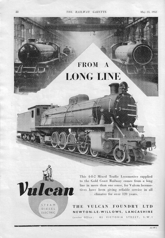 Vulcan Foundry Advert - 1952 Rly Gazette