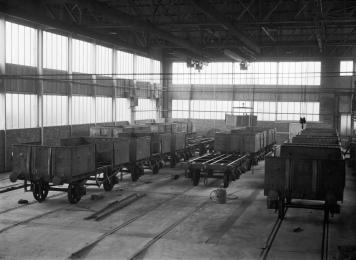 The interior of the Shildon erecting shop in the 1950s, with some of BR's latest all-steel freight wagons. Photo Courtesy: British Rail Records Office /Science Museum Collection https://collection.sciencemuseum.org.uk/objects/co423874