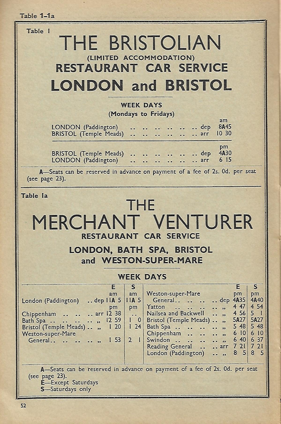Bristolian BR Western Region Named Train 1961