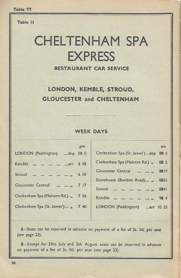 Cheltenham BR Western Region Named Train 1961 9