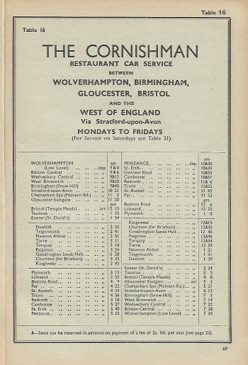 Cornishman BR Western Region Named Train 1961 14