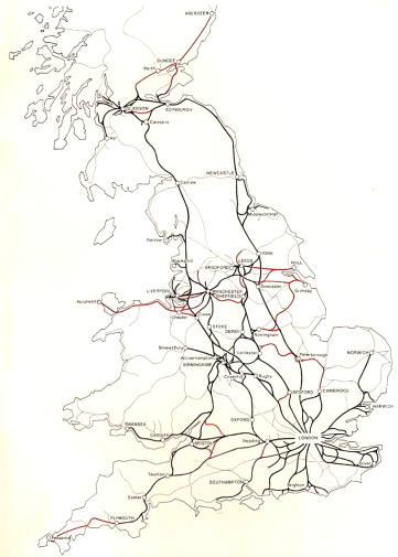 The lines coloured black were the electrification proposals for Option III, which included the ECML as well as the Western Region to South Wales