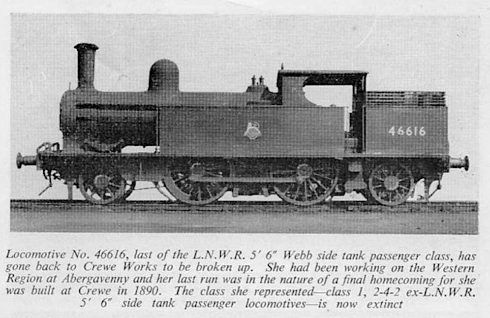Last LNWR 2-4-2T - ex Precursor Dec 1955