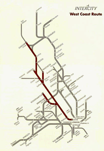 10 years after the 1981 report, the West Coast Main line shown in this map was planned to receive new IC225 locomotives, as delivered to the East Coast Main Line, when it was completed in 1991
