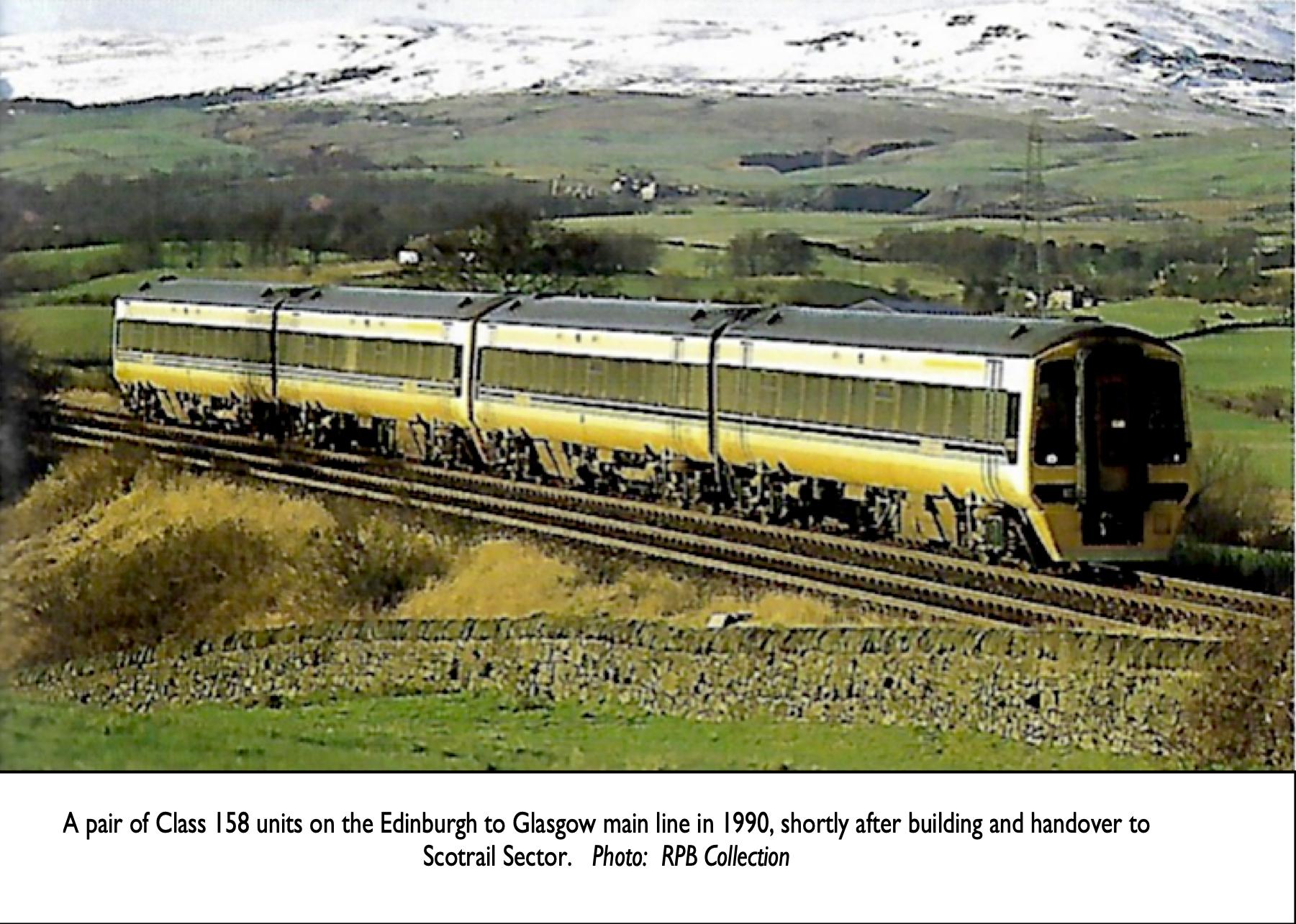 Class 158 in 1990 on Glasgow to Edinburgh