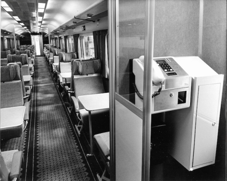 Mk IIIb 1st open Coach interior with telephone