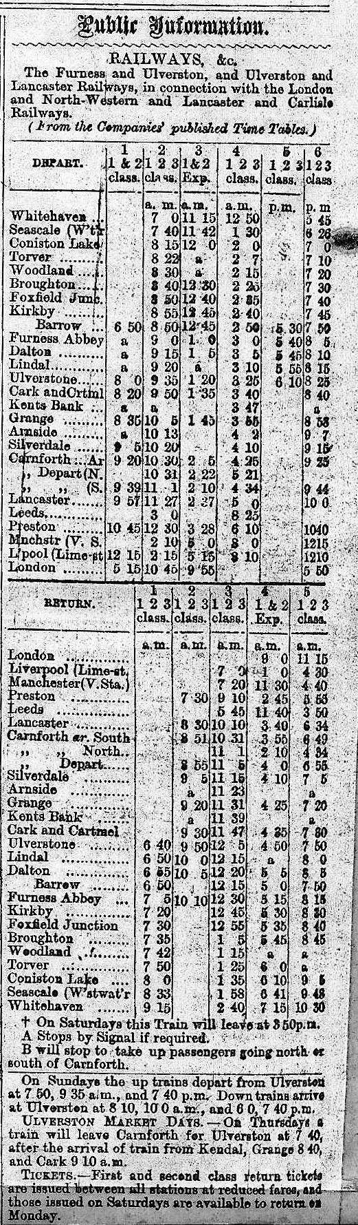 Ulverston Mirror 1862 Extract1